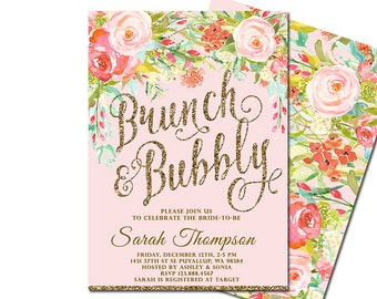 Brunch and Bubbly Bridal Shower Invitation, Floral Bridal Shower Invite, Pink Gold Glitter Invitation, DIY Printable