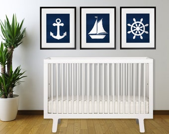 Set of 3 Indigo Blue Nautical Print Set ANCHOR, SAILBOAT, ships wheel 8x10 , 11x14 or 13X19 Coastal Boho