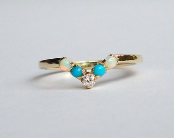 Diamond, Turquoise and Opal Ring, Wedding Band, 14K Yellow Gold