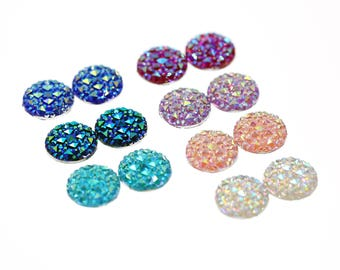 14pcs 14mm Faux Druzy Sampler, Faux Crystal Clusters Cabochons Small DIAMOND Nuggets Flatback Resin Gem Sampler