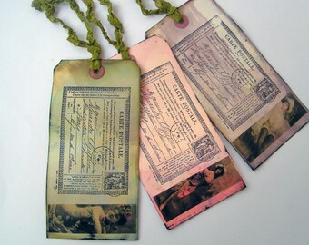 Gift Tags Mixed Media Burlesque Girls Vintage Vamps Set of 3