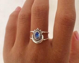 Bali Silver Rainbow Moonstone Ring | Bali Silver Summer Ring | Bali Rings | Bali Moonstone Bague en Argent