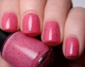 Watermelon Seeds - Custom Hot Pink Black Glitter Polish