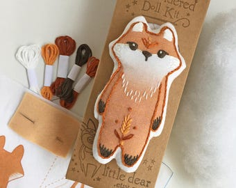 Hand Embroidery Kit Red Fox Plush Doll sewing pattern DIY plush pattern beginner embroidery pattern embroidery designs woodland animals