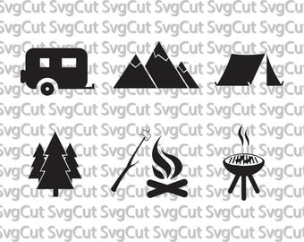 Camping SVG files - Camper Camping file - Tent Mountains Camping - vector files for Silhouette and Cricut - Camper RV camping
