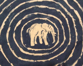 """Indigo Resist Animals - African Style, hand-painted and hand-dyed Fabric, 100% cotton, 8 x 11"""""""