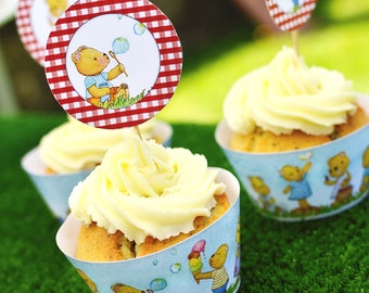 Teddy Bear's Picnic Cupcake wrappers and toppers