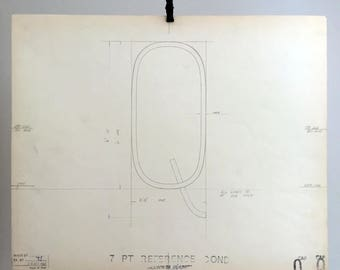 Original Linotype Industrial Font drawing. Capital letter Q, 7pt Reference Condensed. British industrial history. 1967