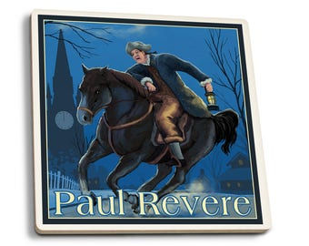 Boston, MA - Paul Revere - LP Artwork (Set of 4 Ceramic Coasters)