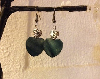 Pearl gray and Silver Heart Earrings