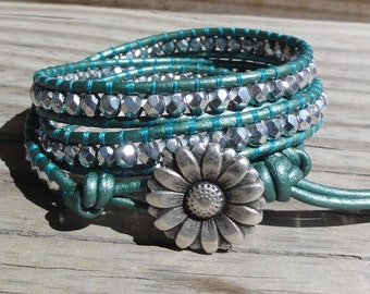 Triple Leather Wrap Bracelet with Silver Czech Glass Beads and Metallic Teal Leather