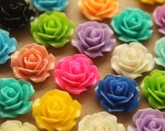 CLOSEOUT - 32 pc. Multi-Colored Crisp Petal Rose Cabochons 18mm | RES-346