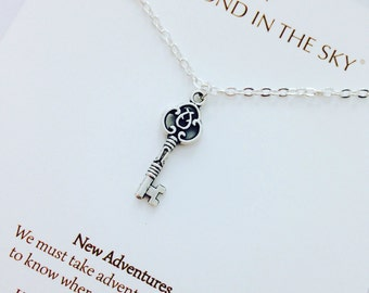 New Adventures traveller, graduation Key Necklace on Gift Card