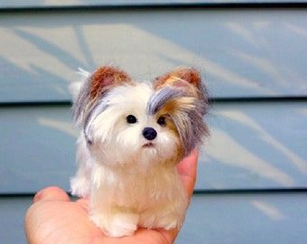 OOAK Handmade Custom Pet Portrait / Your Pet in Miniature  / Fully poseable / example Biewer Yorkie Morkie