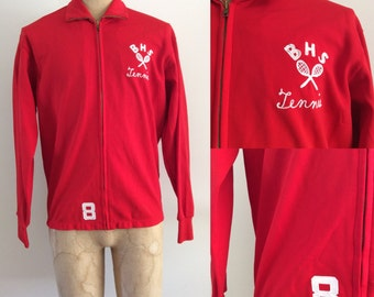 1970's Red Polyester Bountiful Tennis Vintage Mens Jacket Size Medium Large by Maeberry Vintage