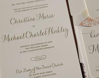 Letterpress Wedding Invitation Sample, Wedding Invitation, Wedding Invitations, Wedding Invitation Suite, Wedding Invitation, Elegant Invite