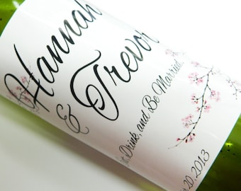 Set of 20 - PERSONALIZED WINE LABEL - Cherry Blossom Designs- For Weddings, Anniversaries, Or Any Special Occasion