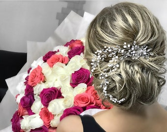 Bridal Hair Comb, Wedding Hair Comb, crystal hair comb, silver hair comb, delicate hair comb, gold silver hair clip, ivory hair clip