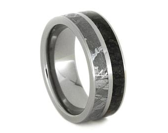 Handmade Meteorite Ring with Dinosaur Bone, Titanium Wedding Band For Men