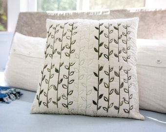 Modern pillow cover quilted and hand-printed leaf floral design 17x17 for home