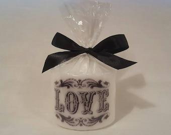 Hand printed love pillar candle