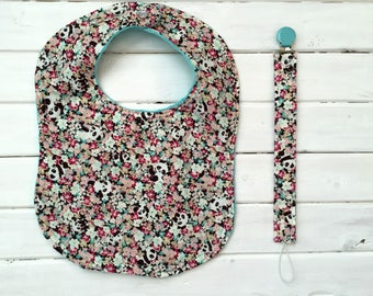 Floral Pandas- Bib and Pacifier Clip Set- Imported Japanese Fabric- Baby Gift Set