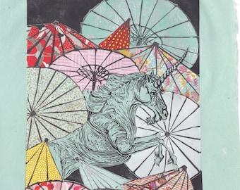 Unicorn Amongst Umbrellas XXXV- Multimedia - Lino Block Print Unicorn with Collaged Japanese Papers & Ephemera Parasols on Black Washi