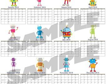 2018 Instant Download Robot Digital File Calendar Digital Print