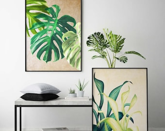 Botanical Print Set Monstera Leaf Print Tropical Print Monstera Plant Print Monstera Print Tropical Leaf Art Print Monstera Deliciosa