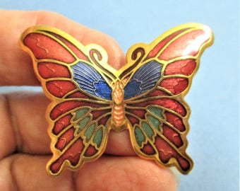 Red Cloisonne Brooch Puffy Butterfly Lapel Pin Red Lapis Peach Gold Butterfly Vintage Jewelry Pin Gift for Women Cloisonne Butterfly Brooch