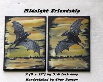 Halloween Wall Art, Acrylic Bat painting, Original Vampire bat wall hanging, Creepy Halloween Art, handpainted by Char Benson, one of a kind