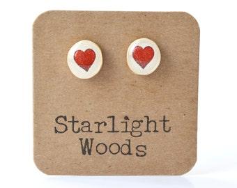 Red Heart Stud Earrings • Simple Post Earrings • Gifts For Her • Simple Everyday Earrings • Dainty Earrings