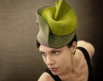 Multi Green Sculptural Felt Hat - Botanical Series - Made to Order