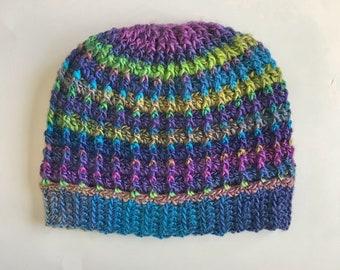 Messy Bun Hat - Blue, Green & Purple