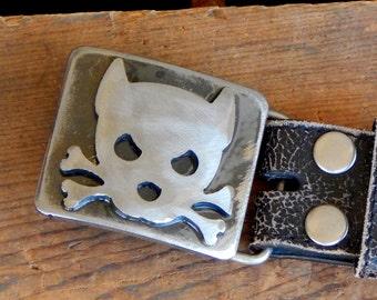 Outlaw Doggy Belt Buckle -Spike- by WATTO Distinctive Metal Wear- Handmade Distressed Metal Belt Buckle