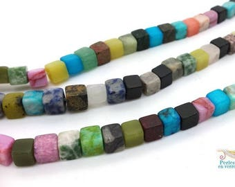 Cubes are gemstone mixed color X 30, 6x6mm (PG217)