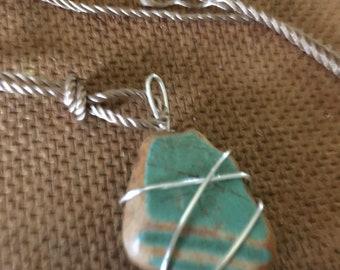 Unique  turquoise bauer pottery beach shard Necklace