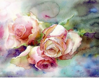 "Postcard ""Les roses Garden"". Reproduction of original watercolor."