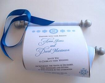 Fairytale wedding invitation scroll, scroll invitations, silver and blue wedding invitations, storybook wedding, princess invitations, 25