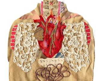 anatomy series heart 1, mixed media heart, collage heart, cabinet of curiosities heart, heart, print