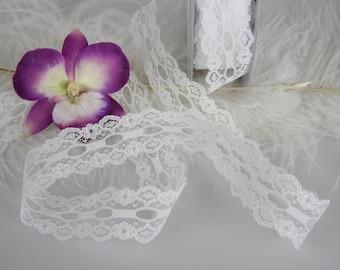 "White Lace Ribbon   1"" wide   Bridal Supplies   Fancy Lace   Gift Wrap Ribbon   Wedding DIY Pew Bow Ribbon   Lace Supplies   2 Yards"