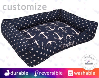 Navy & White Anchors Dog Bed or Cat Bed | Nautical, Sea, Swiss Cross, Palm Trees, Beach, Coastal | Design Your Own