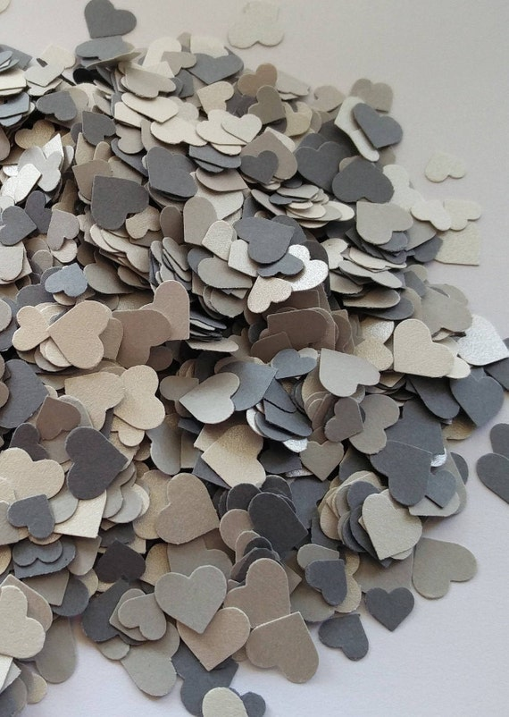 2000+ Mini Confetti Hearts. Silver & Gray Mix. Weddings, Showers, Decorations. ANY COLOR Available.