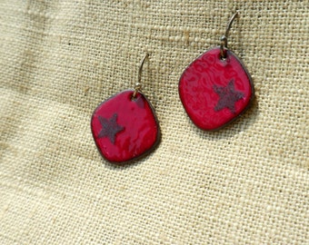 Enamel Flame Red Star Earrings