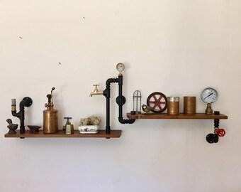 Vintage Steampunk style shelf in two-storey hydraulic tubes.
