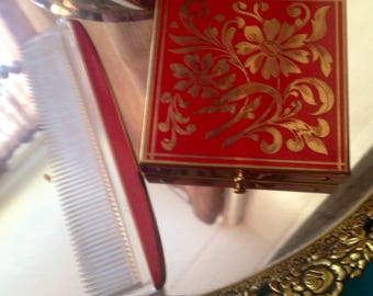 Compact and Comb Vanity Set Red Gold Metal Fifth Avenue Rexall Powder Puff Powder Screen Included