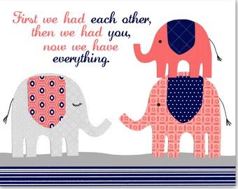 First We Had Each Other Elephant Nursery Art, Baby Girl, Gray Coral Navy Nursery Decor, Elephant Canvas Art, Canvas Nursery Art, Baby Shower
