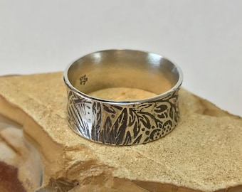 Texture Patina Ring Argentium Sterling Silver Band
