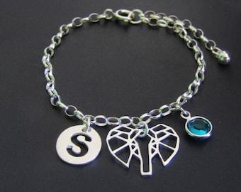Personalized Elephant Bracelet, Birthstone Bracelet, Initial Bracelet, Sterling Silver Bracelet, Gift for Her