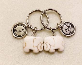 SALE!!! Couples gift set elephant keychain elephant gifts couples keychain personalized gift initial keychain white turquoise elephant